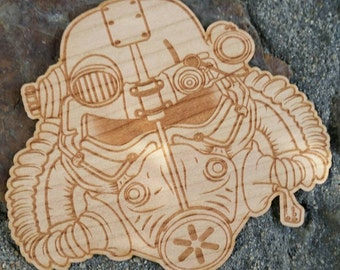 Wasteland Oddities Power Armor Helmet Sticker - Fallout Game Series Themed Wooden Sticker -