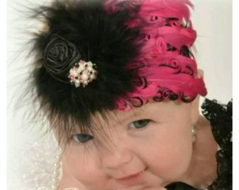 Hot pink and black feather headband, vintage baby headband,   feather pad headband, nagorie headband, baby photo prop, birthday gift