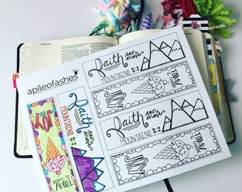 Download Bible Journaling - Margin Stickers, Bookmarks, Faith, Joy, Mountains, Ice Cream, Color, Hand Drawn Art, Printable