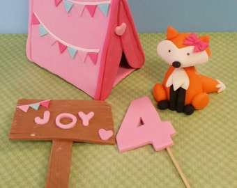 Girls Camping Party The pink TENT with birthday BANNER, 1 animal with bow, 1 number, sign saying Camp NAME