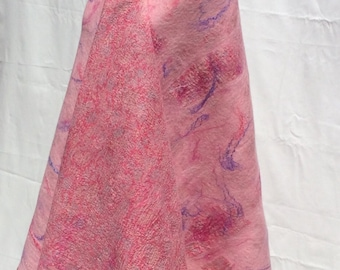 Pastell Nuno felted shawl . Merino wool and mulberry silk.