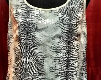 80s silk sequined top