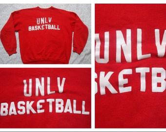 Vintage Retro Men's 70's UNLV Basketball Sweatshirt Red Medium Large Sweatshirt Made in the USA