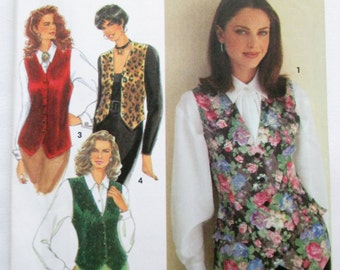 1993 Simplicity 8621 Misses lined vest pattern in two lengths sizes 16 - 20 included UNCUT