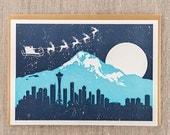 Santa Over Seattle Letterpress Holiday Card