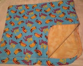 Wiener Puppy Dog Flannel Baby Blanket - Double Sided - Receiving Blanket - Dachshund (B1)