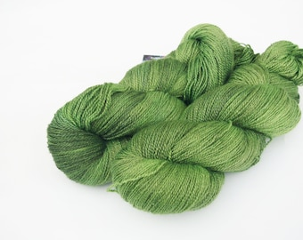 Hand dyed yarn - Heavy lace weight 55/45 Superwash BFL and silk -spring leaves