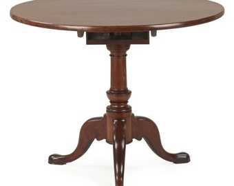 American Queen Anne Southern Mahogany Antique Tilt Top Tea Table, 18th Century, 409JPP04Z