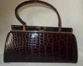ON HOLD Stunning rare vintage Lesco black and brown crocodile handbag