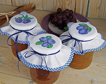 Cross Stitch Kit - Blueberry Jar Covers