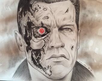 Arnold Schwarzenegger Terminator original pencil drawing .A4 ooak fan-art.