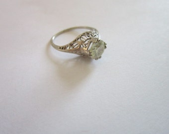 Antique Victorian 14 K White Gold Filigree Faux Diamond Engagement Ring Gorgeous