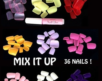 SALE Day 36 Mixed Colorful Fake Nails Tips for Toes DIY Nails Art with Glue