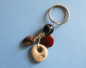Key Ring with Four Lucky Stones -  Keychain, Key Fob