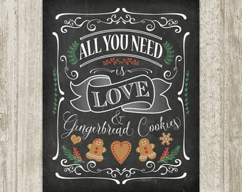 Kitchen Chalkboard Art, Kitchen Sign, Gingerbread Cookie Printable Art, Kitchen Wall Art, Christmas Sign 8x10 11x14 16x20 Instant Download