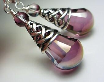 Swarovski Light Amethyst Earrings Antique Silver Victorian Style Lilac Earrings Antique Purple Crystal Floral Purple Earrings  Gift for her