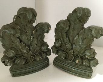 Syroco 1930s Vintage Bookends Large Curled Leaves & Flower Distressed