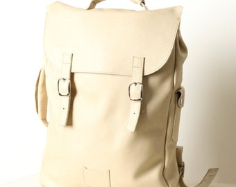 Milky white large leather backpack rucksack / To order / Leather Backpack / Leather rucksack / Womens backpack / Christmas Gift