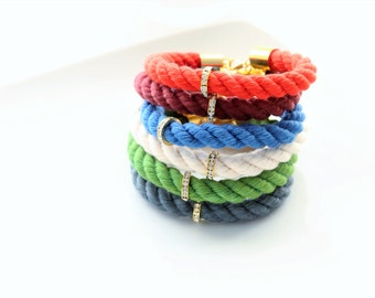 Hand Dyed Cotton Rope Gold Brass Rhinstone Rondelle Stackable Bracelet