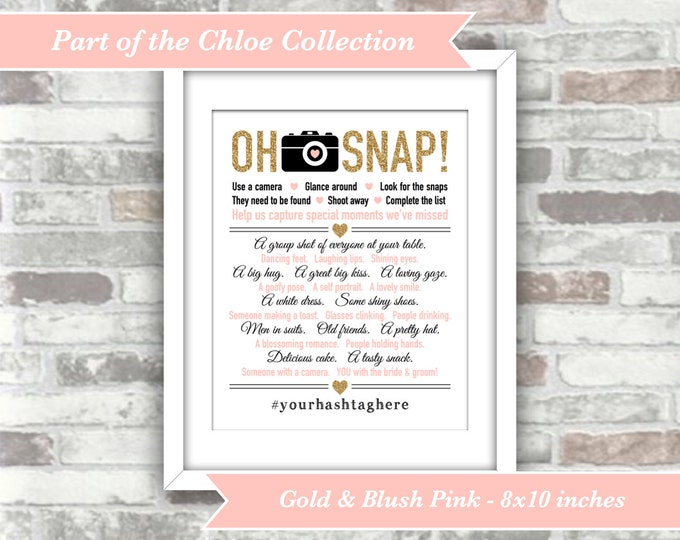 PRINTABLE Digital File - Chloe Collection - Oh Snap Wedding I Spy Game Sign - Personalised with your hashtag Gold Glitter Effect Blush Pink