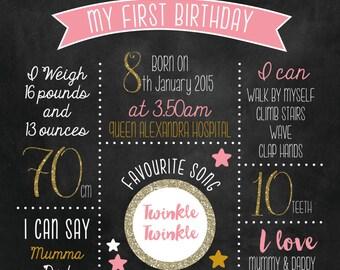 Printable 'My First Birthday' chalkboard Keepsake print A3 gold glitter