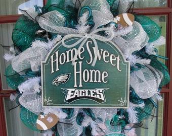 Philadelphia Eagles Midnight Green ,Black And White Deco Mesh Door Wreath
