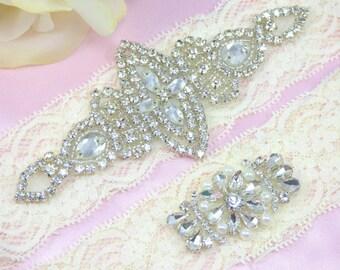Ivory Wedding Garter, Rhinestone Bridal Garter, Crystal Garter Set, Lace Wedding Garter, Keepsake Garter, Toss Garter Garters, Bridal Garter