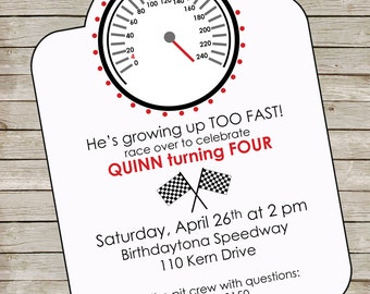 Racecar Party Invitation ~ Speedometer Invitation ~ Race car party invitation printable