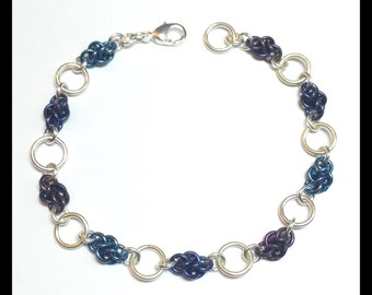 Ombre Sterling Silver Chainmaille Bracelet - Four Winds - Plum and Grape