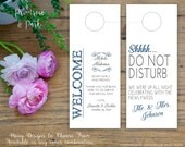 Do Not Disturb Door Hanger plus Welcome Note // Double Sided Hotel Door Tag // Personalized and Custom Made