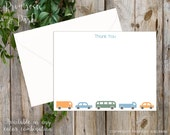 Personalized Stationary Set for Boys // Cars and Trucks Theme // Baby Shower // Boy Note Cards