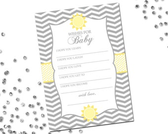 Wishes for Baby - You Are My Sunshine Baby Shower - Grey and Yellow - Chevron Stripes - Printable