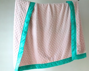 Baby Blanket, Light Pink Minky Dot with Aqua Satin Trim