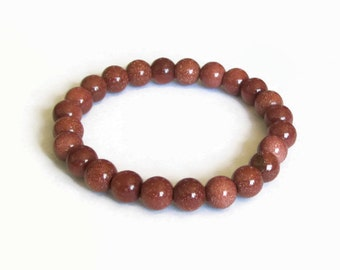 Goldstone 8mm Stretch Bead Bracelet, Gemstone Stretch Bracelet, Stackable Beaded Bracelets