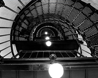 Lighthouse spiral staircase, HDR photograph, black and white, fine photography prints, Yaquina Spiral