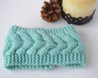 Mint Cable Ear Warmer, Mint Headband, Womens Headband, Girls Headband, Mother Gift, Winter Headband, Knit Headband, Crochet Headband, Gifts