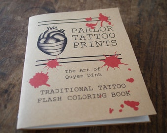 Horror-Themed Tattoo Flash Coloring Book