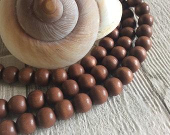 10mm Czech Wooden Brown Round Beads x 50