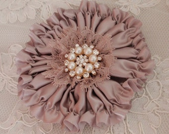 Handmade Ribbon Flower Ribbon Roses Satin Flower In Taupe (4 inches)  MY-417-196 Ready To Ship