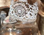 Embellished Metal crown, crown decor, french decor, Mediterranea Design Studio, wedding crown, distressed crown, cake topper, antique french