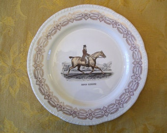 Homer Laughlin 1950's Plate, Equestrian Vintage Plate