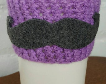 Adorable Hand Made Crocheted & Felt MUSTACHE Coffee COZY Light Purple with Grey Felt