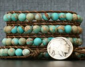 turquoise wrap bracelet- sky blue aqua terra jasper on chocolate brown leather - sediment jasper blue brown