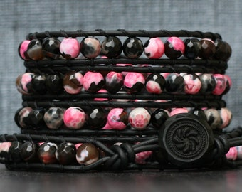 READY TO SHIP wrap bracelet- black & pink faceted fire agate on black leather with vintage black glass button - boho bohemian gypsy