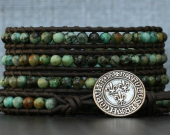turquoise wrap bracelet- african green turquoise on black brown leather- beaded leather 5 wrap