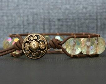 pale yellow crystal and leather bangle bracelet - wrap bracelet - soft yellow - single wrap ladder bracelet
