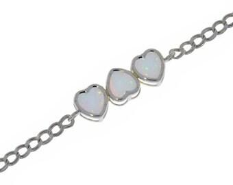 Opal Heart Bezel Bracelet .925 Sterling Silver