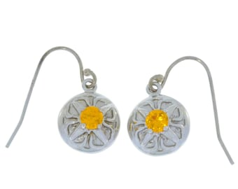 Citrine Round Dangle Earrings .925 Sterling Silver
