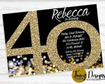 40th Birthday Invitation, Adult 40th Invitation, Gold 40th Invitation, Gold Adult Invitations, Gold Glitter Invitation, 40th Birthday Party