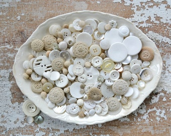 Vintage White Button Lot -Antique Crocheted Fabric Sewing Collection - Set 124 Victorian